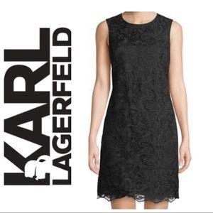 Karl Lagerfeld Paris black lace sheath dress